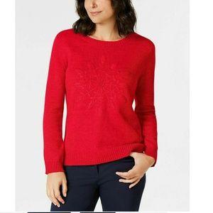 Karen Scott XL Red Embroidered Sweater 4AA88